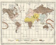 1914 Diccionario Enciclopedico Hispano-Americano map of the Distribution of Religions on the Earth (in Spanish).  Available at http://www.uncannyartist.com/products/1914-maps-set-e.