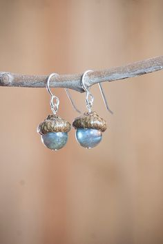 Acorn Earrings with Labradorite + Sterling Silver handmade by Nuttier Than A Squirrel – lustrous blue, green, yellow, peach, purple