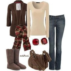 Fall outfit. Jeans uggs brown tan plaid