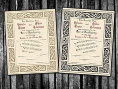 Norse Viking Celtic Handfasting Certificate for by PandorasArt