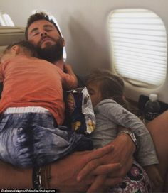 Family naptime: Chris Hemsworth was secretly snapped adorably cuddling his daughter India,...