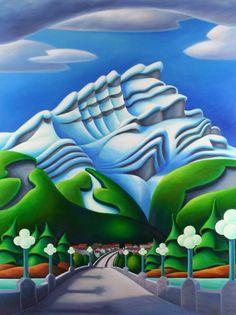 Banff Avenue by Dana Irving presented by Hambleton Galleries Artwork Display, Indigenous Art, Naive Art, Canadian Artists, Mandala Design, Landscape Art, Painting Inspiration, Art Lessons, Amazing Art