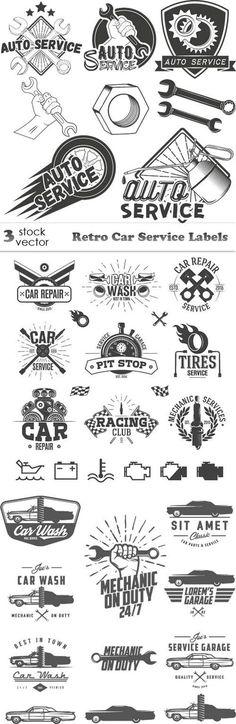 Vectors - Retro Car Service Labels
