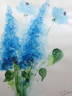 Aquarell Wiesenblumen abstrackt Malerei