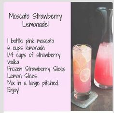 Pink Moscato Strawberry Lemonade -- trying for the first time at a graduation party! Made with sparkling moscato and regular vodka. Was good for me, not a big alcohol taste. Refreshing Drinks, Summer Drinks, Summertime Drinks, Fruity Drinks, Frozen Drinks, Party Drinks, Cocktail Drinks, Wedding Shower Drinks, Champagne Drinks