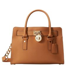Bolsa Michael Kors Hamilton 18K East/West Satchel Marrom