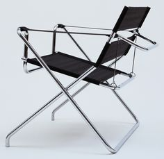Marcel Breuer Folding Armchair Model No. 1927 Manufactured by TECTA Mobel, Germany Chrome-plated tubular steel and Eisengarn (iron yarn developed by Grete Reicharat, Bauhaus, made of multiple twisted and paraffined cotton threads) Bauhaus Furniture, Modern Furniture, Furniture Design, Bauhaus Interior, Marcel Breuer, Pretty Things, Metal Folding Chairs, Unusual Homes, Small Sculptures