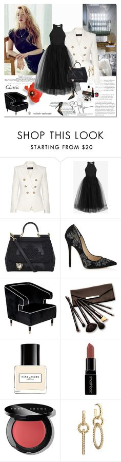 """Dreaming Classics"" by rainie-minnie ❤ liked on Polyvore featuring Balmain, Elizabeth and James, Dolce&Gabbana, Jimmy Choo, Worlds Away, Borghese, Marc Jacobs, Smashbox, Bobbi Brown Cosmetics and John Hardy"