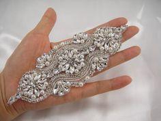 Rhinestone applique crystal bridal Sash applique by LaceNTrim, $15.90