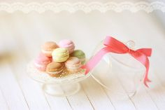 Dollhouse Miniature Food - Sweet Macarons on Glass Display Stand - Dollhouse Miniature Scale - For Lati Yellow or Pukifee Dolls via Etsy Rement, Mini Foods, Tea Cakes, Cake Shop, Miniature Food, Miniature Crafts, Princess Birthday, Muted Colors, Little Things