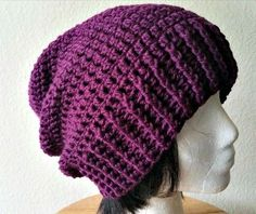 Acquanetta Ferguson: FREE PATTERN Long Ribbed Crochet Slouchy **good basic beanie pattern to alter