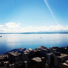 Shot overlooking the Puget Sound, Seattle, WA.  Amazing few days of sunshine and blue skies.