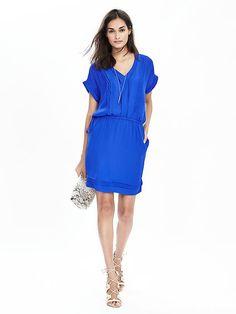 Pintuck Vee Dress