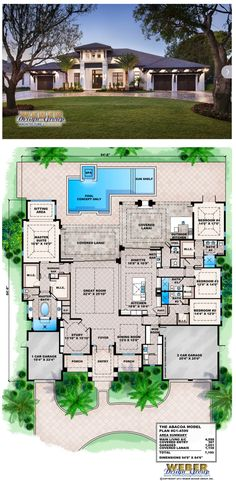 G1-4599 - Abacoa - Waterfront House Plan.  4 bedrooms, 4 full baths and 1 half-bath.  4,599 square feet of living area.  3 car garage.  More waterfront house plans https://www.weberdesigngroup.com/home-plans/style/waterfront-house-plans/