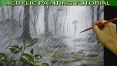 Acrylic Landscape Painting Tutorial Man with Umbrella Walking in the Rai...