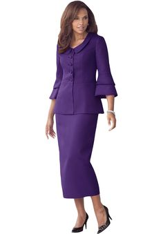 Flattering Tiered Sleeve Skirt Suit | Plus Size Suits & Sets | OneStopPlus