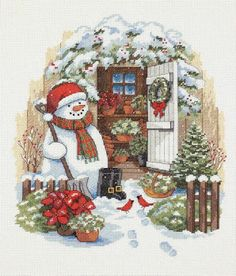 Dimensions Crafts - Garden Shed Snowman Counted Cross Stitch Kit # 8817