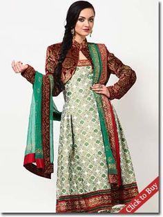 Jabong-Indian By Manish Arora Full Sleeve Embellished Off White Suit Set