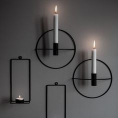 Ljushållare Vägg Rund | Granit SE Black Candle Holders, Metal Candle Holders, Tea Lights, Wall Lights, Candle Arrangements, Black Candles, Best Candles, Candle Sconces, Lighting