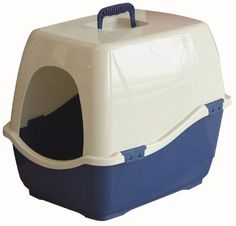 Marchioro Bill 1S Covered Cat Litter Pan SmallMedium TanBlue >>> More info could be found at the image url.