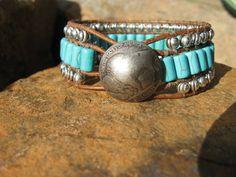 Western Turquoise Leather Cuff Bracelet van fleurdesignz op Etsy