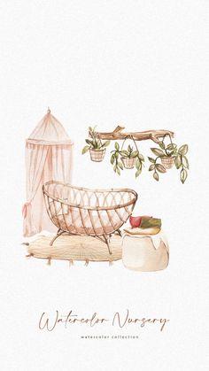 Boho Nursery, Nursery Art, Nursery Furniture, Nursery Decor, Baby Clip Art, Baby Art, Baby Animal Drawings, Cute Drawings, Flower Backgrounds