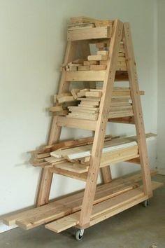 DIY Portable Lumber Rack | Free Plans | rogueengineer.com #PortableLumberRack #GarageDIYplans