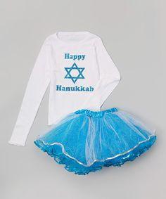 White 'Happy Hanukkah' Tee & Pettiskirt - Infant, Toddler & Girls by Beary Basics #zulily #zulilyfinds