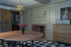 Cape Cod/Colonial Fireplace: Raised Wood Paneling, sconce