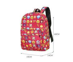 Emoji Canvas 3D Printing Cute 3D Smiley Backpack Travel SchoolBags Teenage Girls