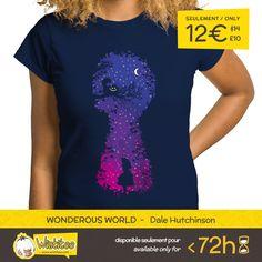 """(EN) """"Wonderous World"""" designed by the astounding Dale Hutchinson is our NEW T-SHIRT. Available 72 hours, order yours today for only 12€/$14/£10 on >> WWW.WISTITEE.COM <<  (FR) """"Wonderous World"""" créé par l'incroyable Dale Hutchinson est notre NOUVEAU T-SHIRT. Disponible 72 heures, réservez-le dès maintenant pour seulement 12€/$14/£10 sur >> WWW.WISTITEE.COM <<  #alice #wonderland #aliceinwonderland #cheshirecat #cat #chat #madhatter #chapelierfou #night #nuit #AliceDeLAutreCoteDuMiroir"""