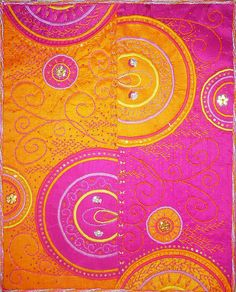 10-2008 Echo Orange and fushia colors echoing the same design Raw silk, machine and hand embroidery, beading 40cm x 50cm