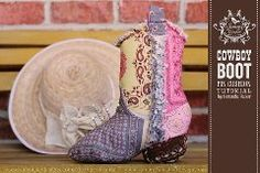 Free pattern: Cowboy boot pincushion · Sewing | CraftGossip.com - i hope they get the link working soon.  this is just too cute!