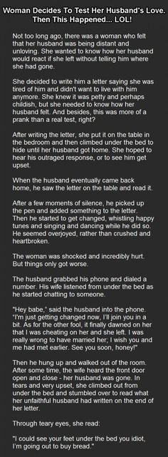 awesome Woman Decides To Test Her Husband's Love. Then This Happened… LOL! Best Quotes - Grammy, Mom, Lizzy Check more at http://bestquotes.name/pin/71048/