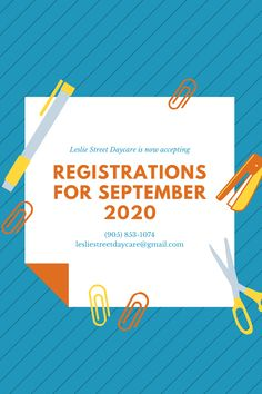 Leslie Street Daycare is now accepting registrations for September 2020. If you have any questions, please call us at (905) 853-1074 or email us at lesliestreetdaycare@gmail.com. Childcare, September, This Or That Questions, Learning, Street, Parenting, Roads, Study, Teaching