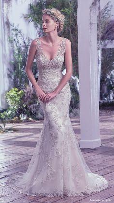 maggie sottero bridal fall 2016 sleeveless vneck sheath wedding dress (greer) mv fully embellished