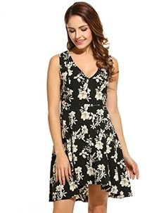 52e644566976 Kancystore Womens Deep V Neck Sleeveless Floral Print Flared Mini Dress  Black XL    Find out more about the great product at the image link.