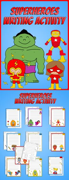 Your students will enjoy writing and coloring these cool superheroes! You get to decide what your students should write about but a few ideas are:  - When I grow up I want to be... - My favorite hobby. - My family. - Short poems.  This product includes 10 worksheets in black and white. In order to suit everybody´s needs I also include a full color version of each worksheet. That makes a total of 20 printable pages.$