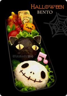 Jack Skellington, Black Cat, & Jack O'Lantern Bento