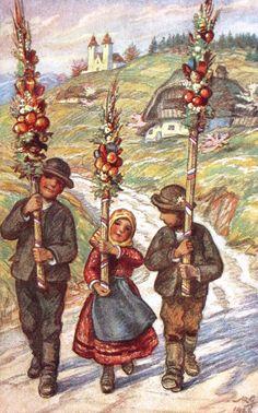 Maksim Gaspari,Cvetna nedelja Slovenian Food, The Beautiful Country, Naive Art, My Heritage, Community Art, Art Pictures, Folk Art, The Outsiders, Palm Sunday