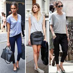 Conforto e estilo nestes looks com t-shirt mescla e sapatos sem salto! Combinação com cara de Domingo!