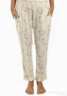 Boys and Arrows ultra comfy lounge pants in Buck Wild antler print - front view