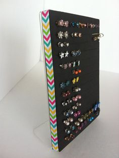Post Earring Holder Jewelry Organizer by NeverLostEarrings - can make custom size for cabinet, can this be used for rings?