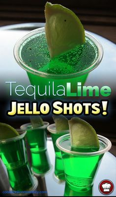 "Tequila is not something you normally think of when someone says, ""JELLO SHOTS!"".. but yes.. we're making it happen. TEQUILA LIME JELLO SHOTS, are actually pretty good! It's a good change from boring old vodka jello shots. The recipe is pretty much exactly the same except we're obviously using Tequila instead of vodka here. And we're finishing off each shot with a sprink of salt, and a small wedge of lime placed on top of each shot. To take the shot, grab the lime wedge and squeeze it over…"