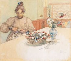 Karin Peeling Apples by Carl Larsson (1853-1919).