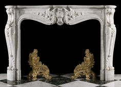 Antique white marble rococo fireplace mantel.✖️Art And Ideas ➕More Pins Like This At FOSTERGINGER @ Pinterest ➖