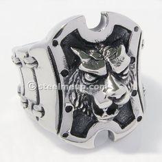 STEEL ME UP Stainless Steel Lion Head Shield Men Biker Ring at steelmeup.com $12.99 USD