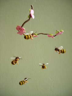 Bees mobile, with five bees - felted, waldorf inspired, by Naturechild. $95.00, via Etsy.