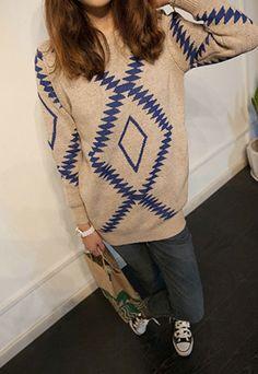 23.99 USD  Retro Folk Style Diamond Check Knit Sweater