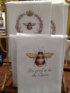 Honey bee tea towels.